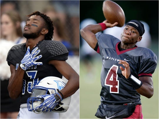 Nolensville wide receiver Zach Campbell (left) and Maplewood quarterback Bobo Hodges (right)
