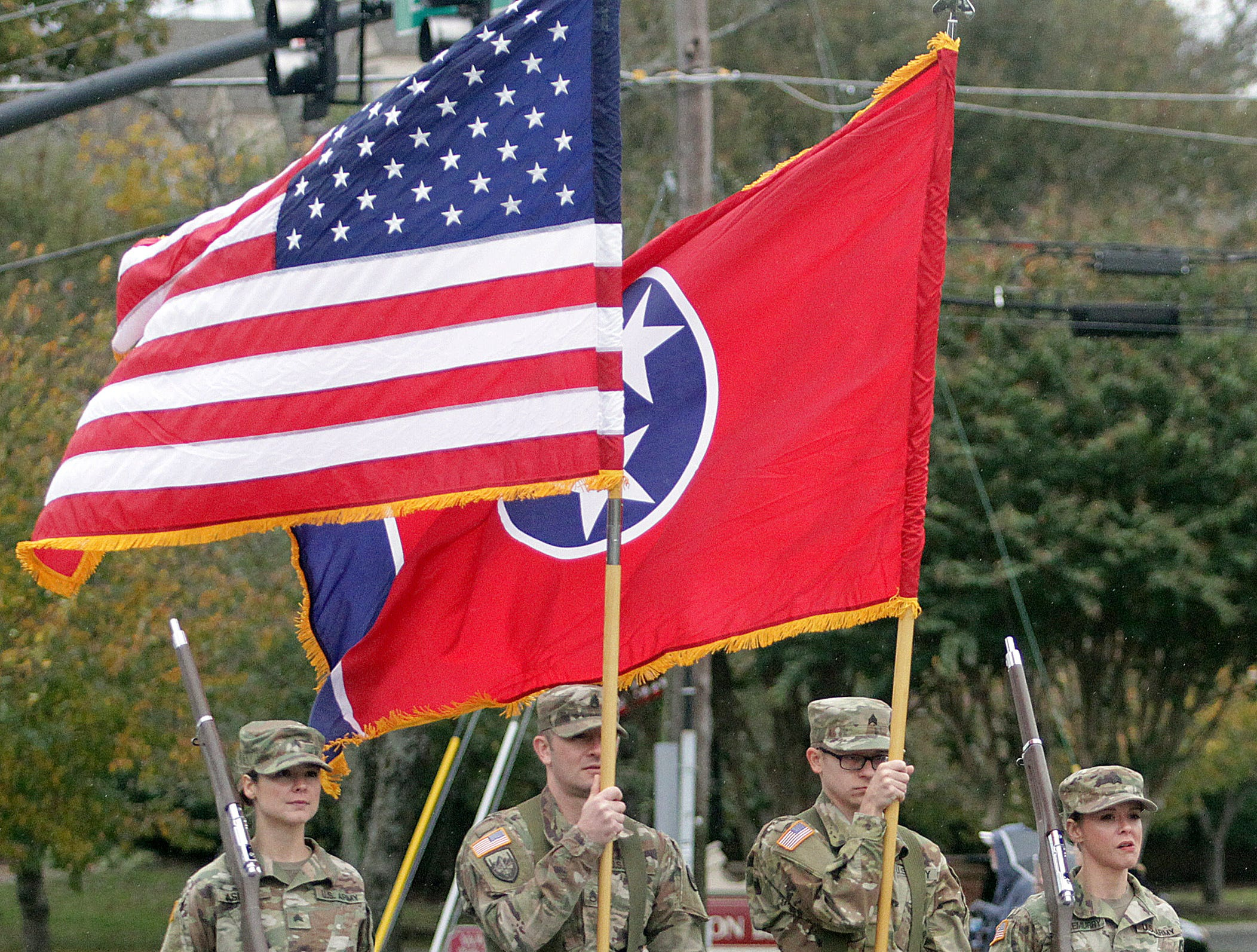 Tennessee National Guard members walk in the Veterans Day Parade in Hendersonville, TN on Sunday, November 4, 2018.