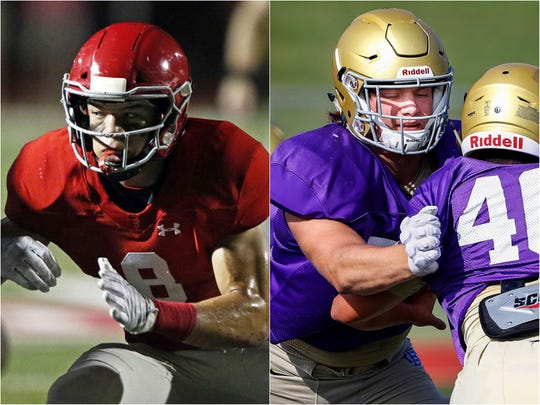 Brentwood Academy linebacker Devyn Curtis (left) and Christian Brothers defensive lineman Bill Norton (right)