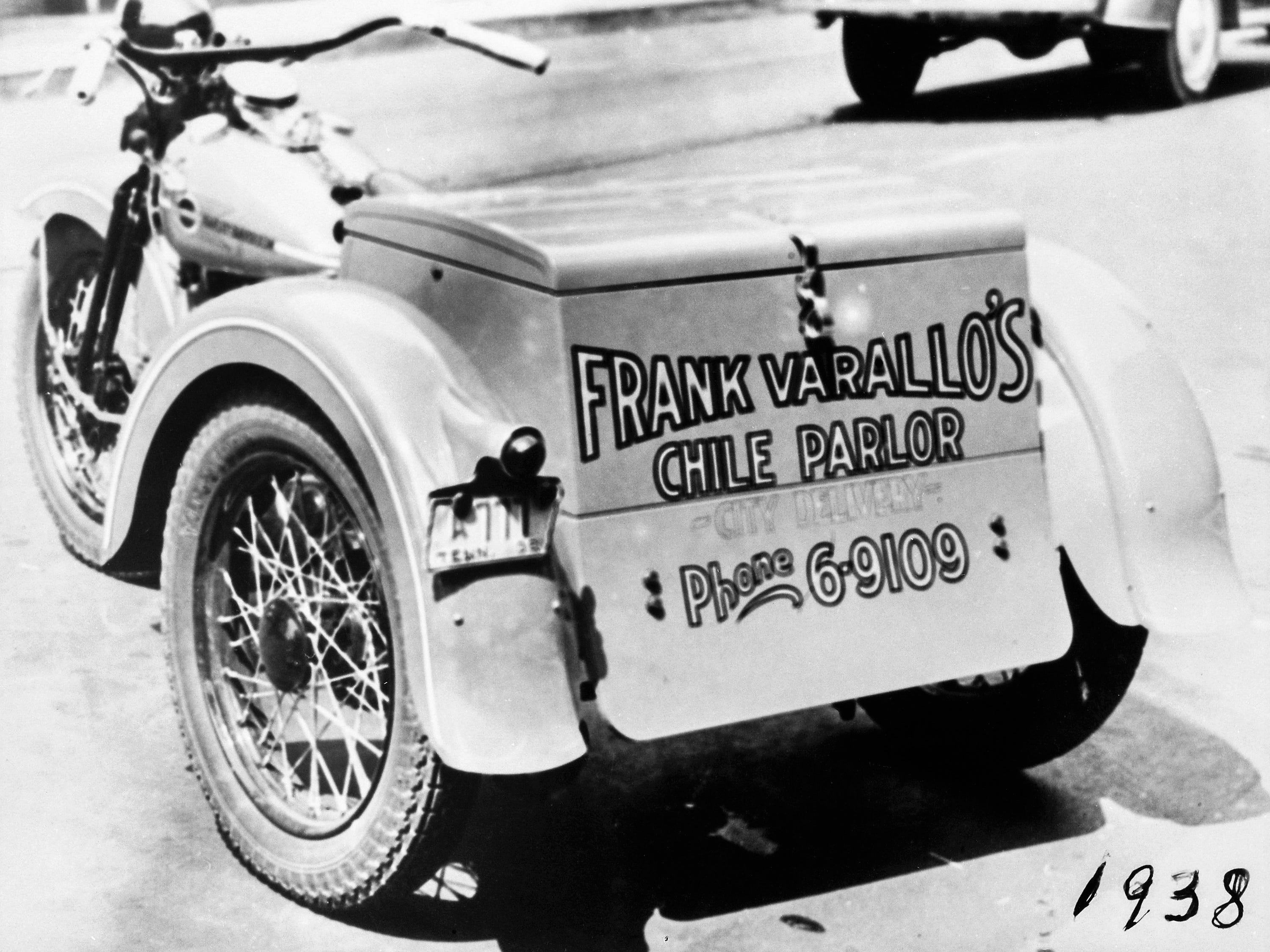 The first three-wheel Harley Davidson motorcycle was used to deliver fresh hot chile around downtown Nashville. In 1938, Varallo's Restaurant was open 24 hours a day. It delivered gallons of chile each day.