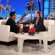 Wilson Central Principal Ranesa Shipman with Ellen DeGeneres on the talk-show set.