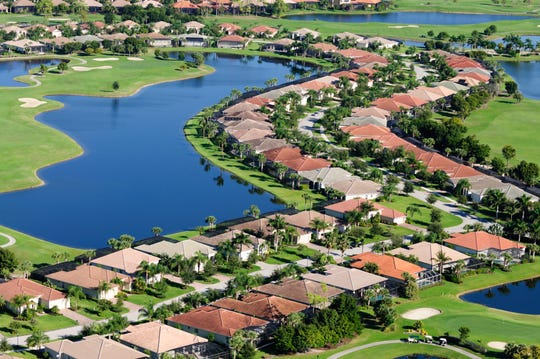 An aerial view of a residential neighborhood in Naples.