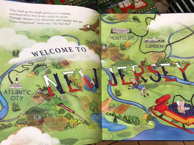 "A page from ""I Saw Santa in New Jersey"" shows a map of New Jersey"