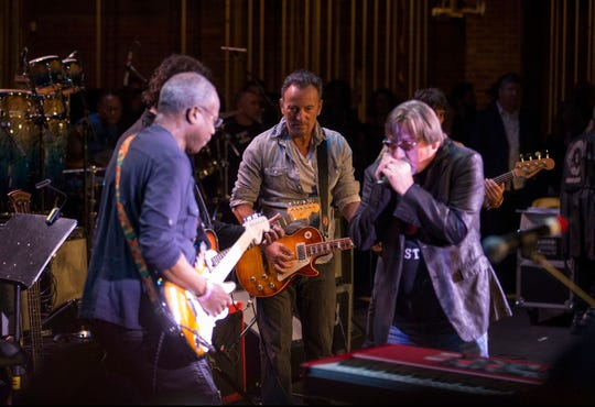 David Sancious, left, plays next to Bruce Springsteen and Southside Johnny Lyon at the Upstage Jam on April 21, 2017, during the Asbury Park Music and Film Festival in the city's Paramount Theatre.