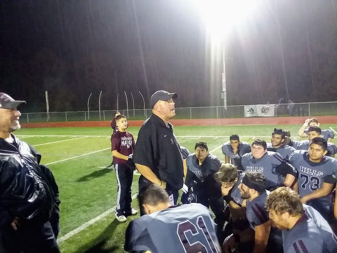 Wayne Demikoff talking to his team after a 41-14 Wayne Hills win over Mount Olive in the first round of the playoffs.