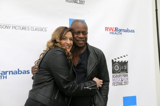 Carrie Potter of Waco, Texas, the granddaughter of the owners of Asbury Park's Upstage Club, poses with David Sancious during the Asbury Park Music and Film Festival VIP Party in 2017.