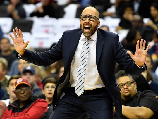 New York Knicks head coach David Fizdale reacts against the Washington Wizards during the first half at Capital One Arena.