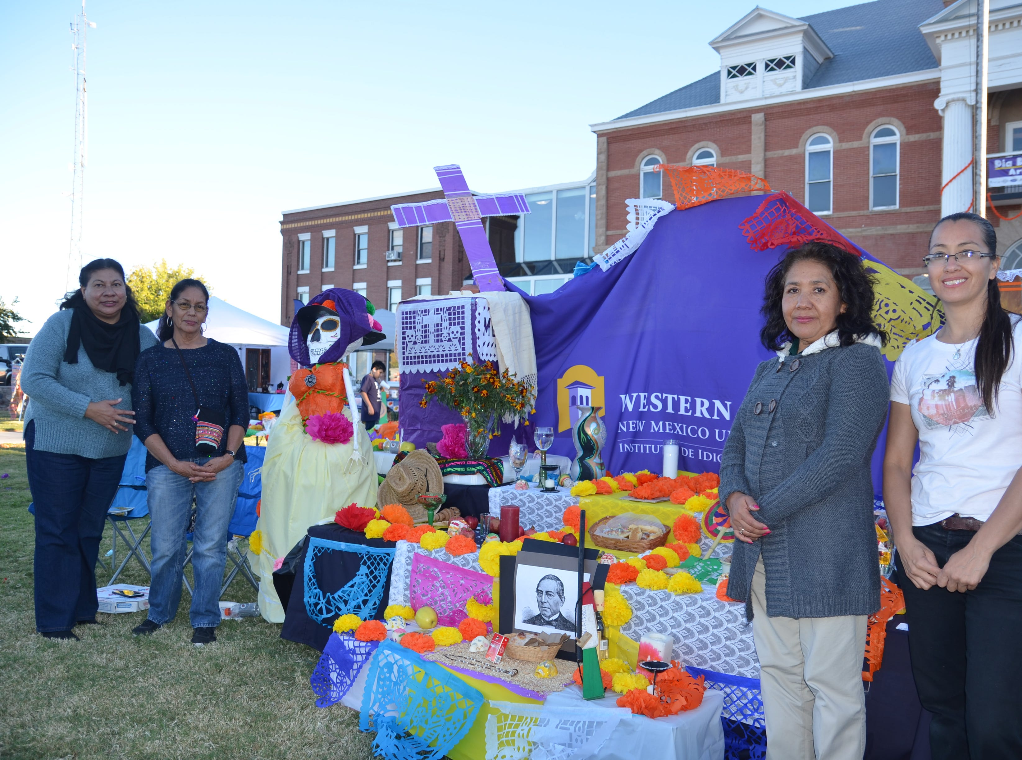 Representatives of the Language Institute of Western New Mexico University won first place for the altar and ofrenda competition. Their altar was dedicated to Mexican president Benito Juarez.