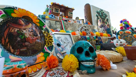 Various altars are pictured during the Dia de los Muertos festivites  at the Mesilla Plaza on Sunday, Nov. 4, 2018.