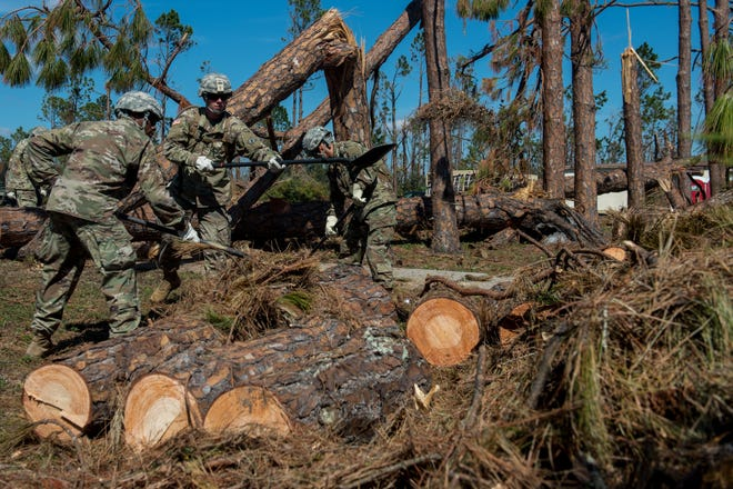 U.S. Army soldiers from the 46th Engineer Battalion move tree debris into piles to be pick up Oct. 31, 2018, on Tyndall Air Force Base, Florida. After Hurricane Michael swept the area, multiple major commands have mobilized relief assets in an effort to restore operations after the hurricane caused catastrophic damage to the base. (US Air Force photo by