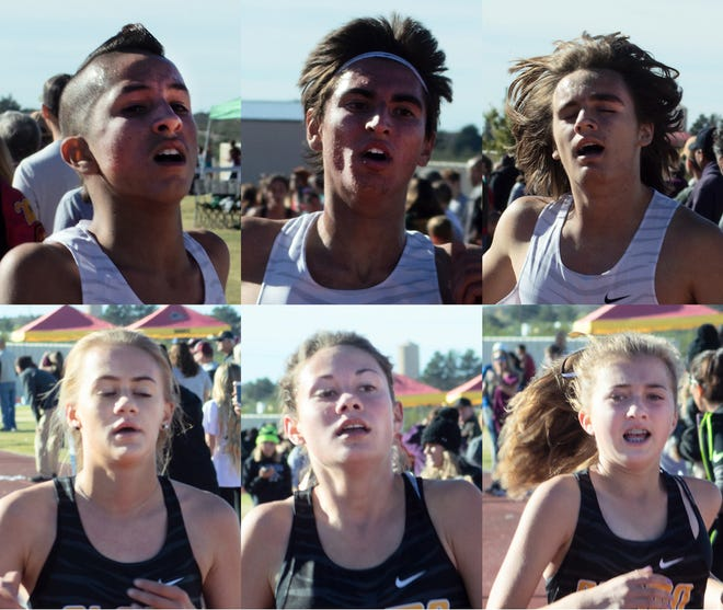 The Alamogordo High School cross country teams competed at the 2018 District 3-5A Cross Country Championship held in Las Cruces on Nov. 3. Clockwise from top left to Celso Garcia, Alex Cavolo, Michael Gagnon, Heidi Amberson, Moriah Martin, and Sheyenne Drake.