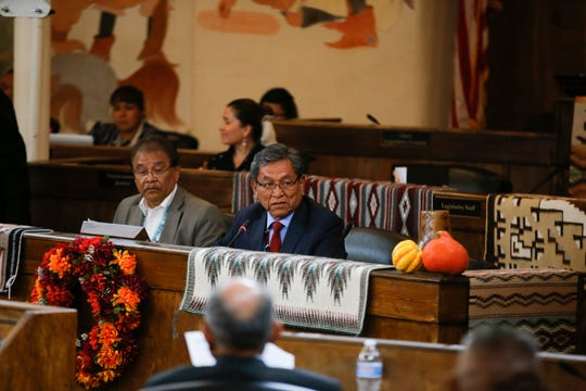 Navajo Nation President Russell Begaye gives his State of the Nation address on Oct. 15 during the first day of the fall session for the Navajo Nation Council meeting at council chambers in Window Rock, Ariz.