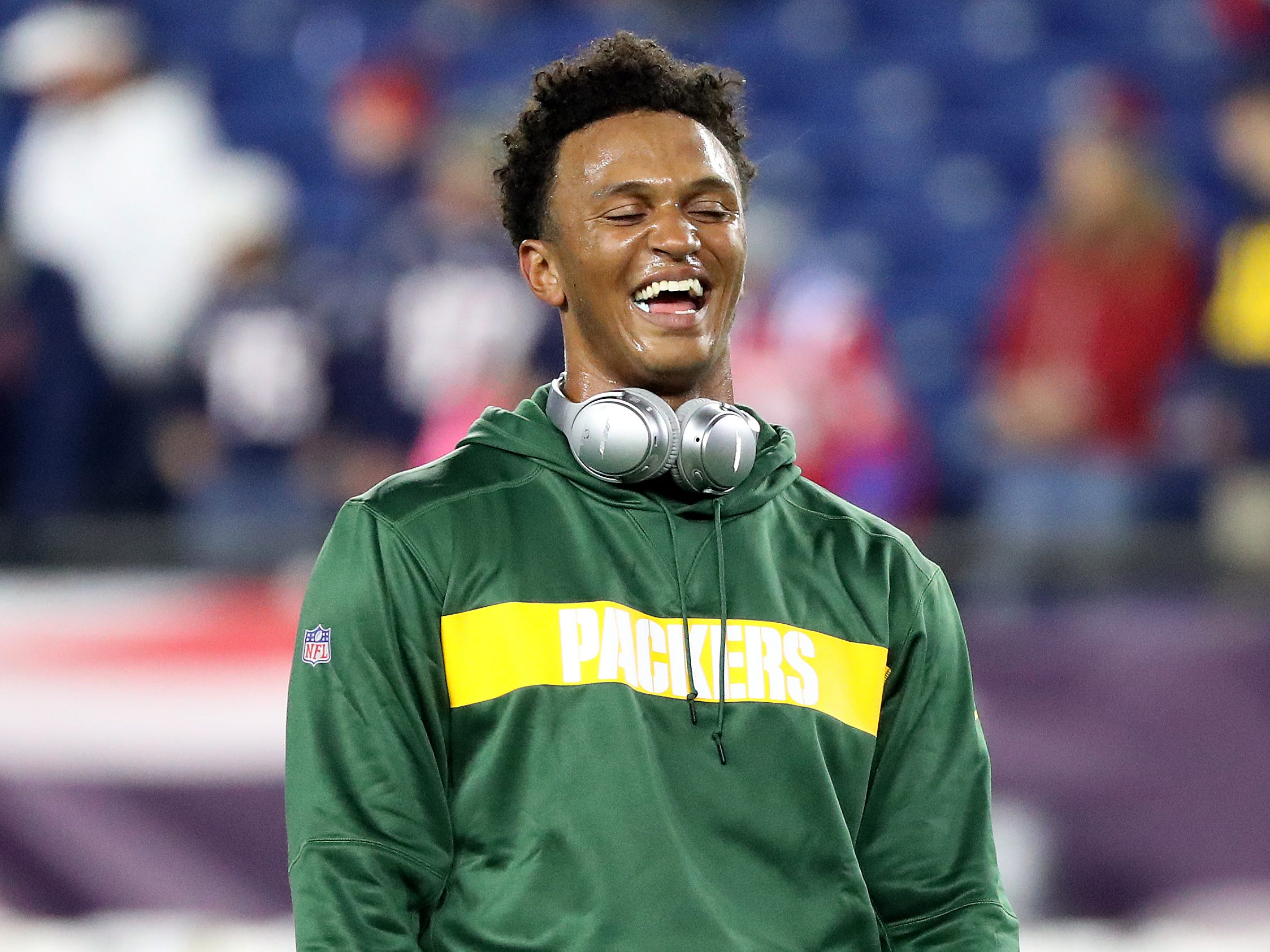 Green Bay Packers quarterback DeShone Kizer (9) laughs during pregame warmups against the New England Patriots Sunday, November 4, 2018 at Gillette Stadium in Foxborough, Mass.