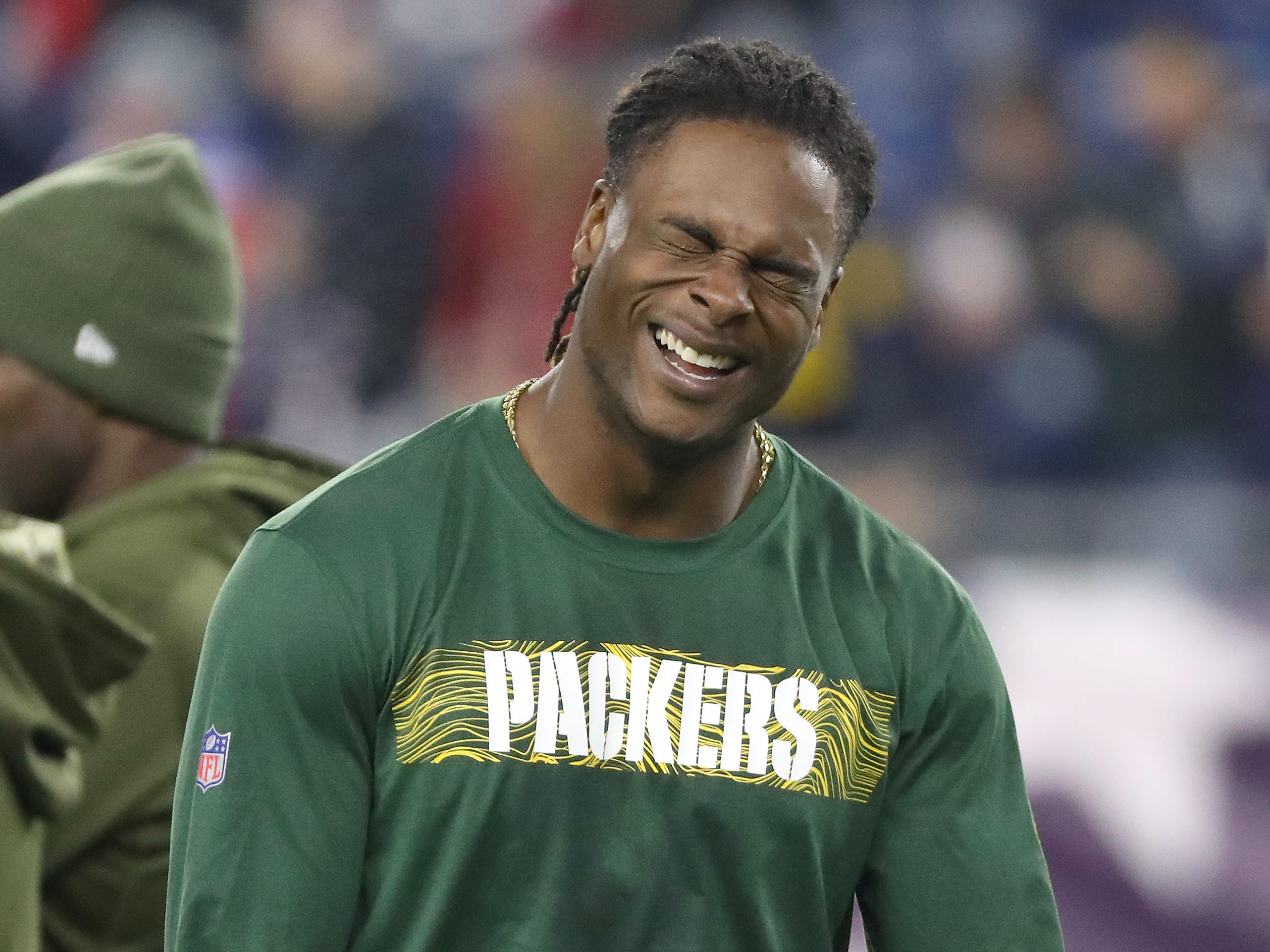 Green Bay Packers wide receiver Davante Adams (17) cracks up during warmups against the New England Patriots Sunday, November 4, 2018 at Gillette Stadium in Foxborough, Mass.