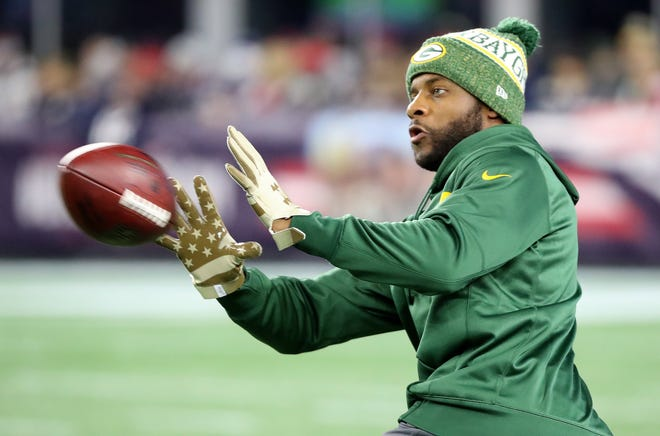 Green Bay Packers wide receiver Randall Cobb (18) during pregame warmups against the New England Patriots Sunday, November 4, 2018 at Gillette Stadium in Foxborough, Mass.