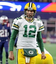 Green Bay Packers quarterback Aaron Rodgers (12) reacts to an incomplete pass against the New England Patriots Sunday, November 4, 2018 at Gillette Stadium in Foxborough, Mass.