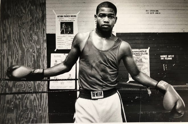 Boxer Roy Jones Jr. poses for a photo during a training session in Pensacola on July 17, 1986.
