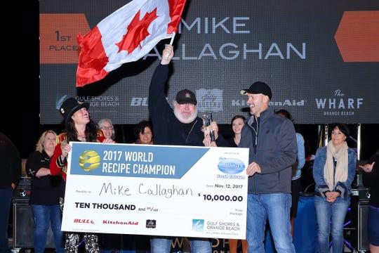 The 2017 World Recipe Champion, Mike Callaghan, celebrates at The Wharf in Orange Beach, Alabama.