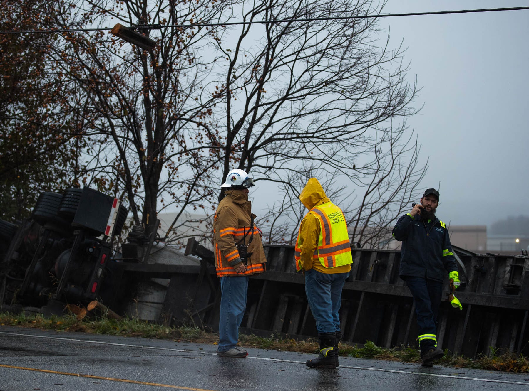 An overturned truck carry poultry parts closed part of Route 30 in western York County on Monday, Nov. 5. 2018.