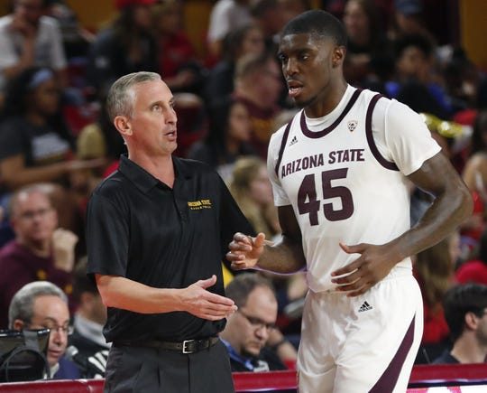 ASU coach Bobby Hurley talks with Zylan Cheatham in last week's exhibition win at Wells Fargo Arena.