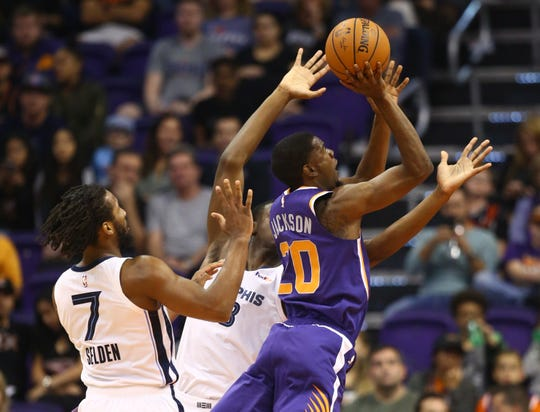 Suns forward Josh Jackson cuts to the basket during the first half of a game against the Grizzlies on Nov. 4.