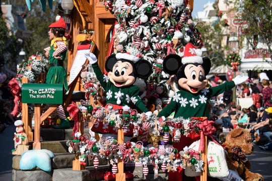 "Mickey and Minnie star in ""A Christmas Fantasy"" Parade, part of the holidays at the Disneyland Resort  Nov. 9, 2018 through Jan. 6, 2019."