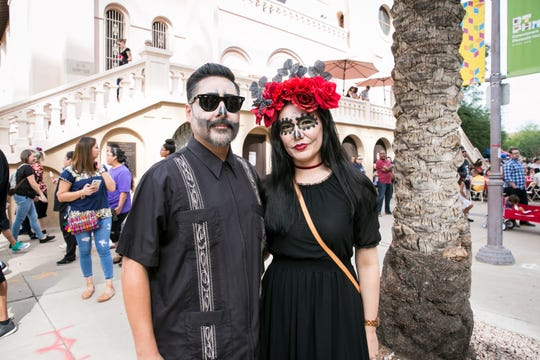 These two looked awesome during Dia de los Muertos at Saint Mary's Basilica in Phoenix on Sunday, November 4, 2018.