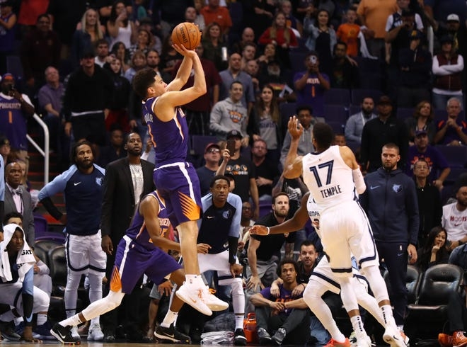 Nov 4, 2018; Phoenix, AZ, USA; Phoenix Suns guard Devin Booker (1) hits the game winning basket in the closing seconds of the game against the Memphis Grizzlies at Talking Stick Resort Arena.