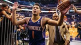 Phoenix Suns Devin Booker talks about his winner as well as his teammates after Sunday's 102-100 win over Memphis at Talking Stick Resort Arena.