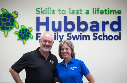 """Just watching the kids blossom … we see the kid that's nervous coming in and two weeks later, they stride in and feel comfortable,"" says Bob Hubbard (seen with wife Kathy Hubbard). ""We believe kids love the water and it gives them self-confidence."""