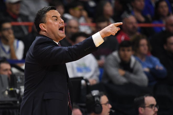 Mar 15, 2018; Boise, ID, USA; Arizona Wildcats head coach Sean Miller reacts in the first half against the Buffalo Bulls during the first round of the 2018 NCAA Tournament at Taco Bell Arena.