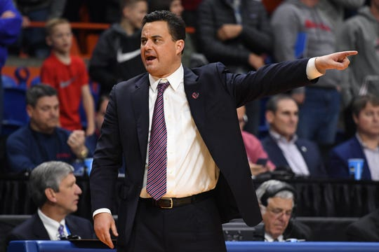 Arizona coach Sean Miller reacts during the second half of an NCAA Tournamet game against Buffalo.