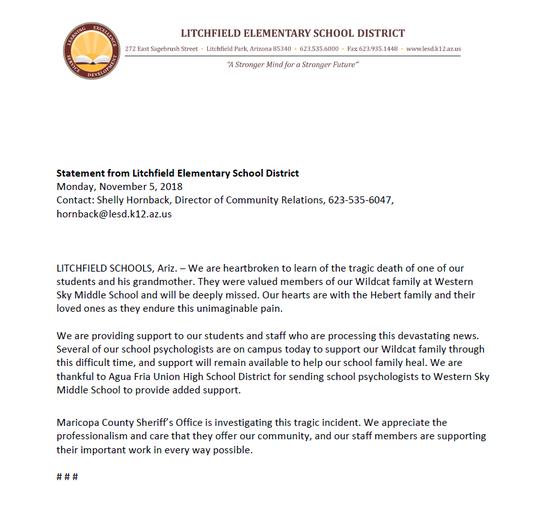 Sky Middle School Statement