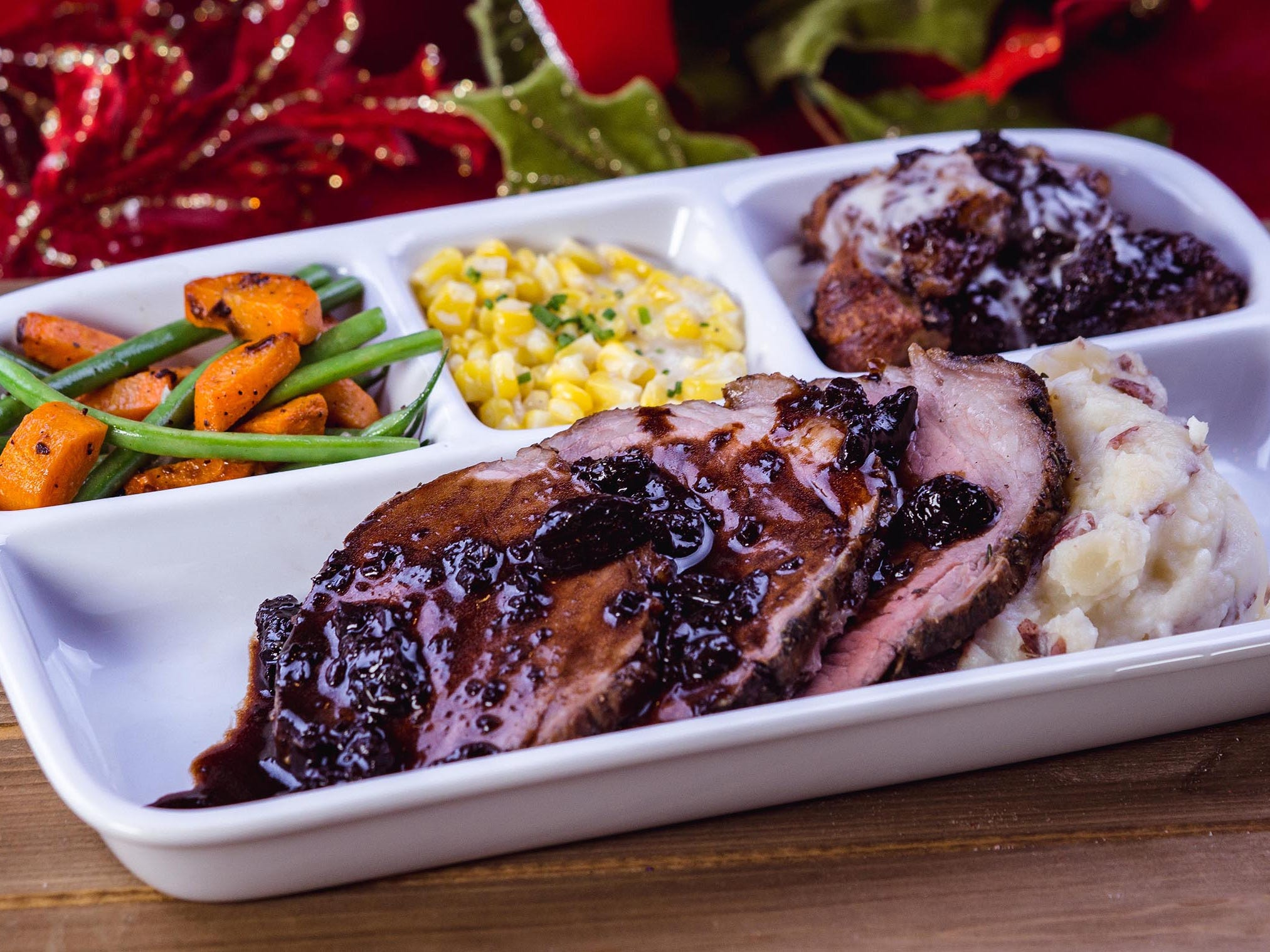 The roast beef TV dinner can be found for a limited time at Carnation Café on Main Street, U.S.A. at Disneyland park during Holidays at the Disneyland Resort.