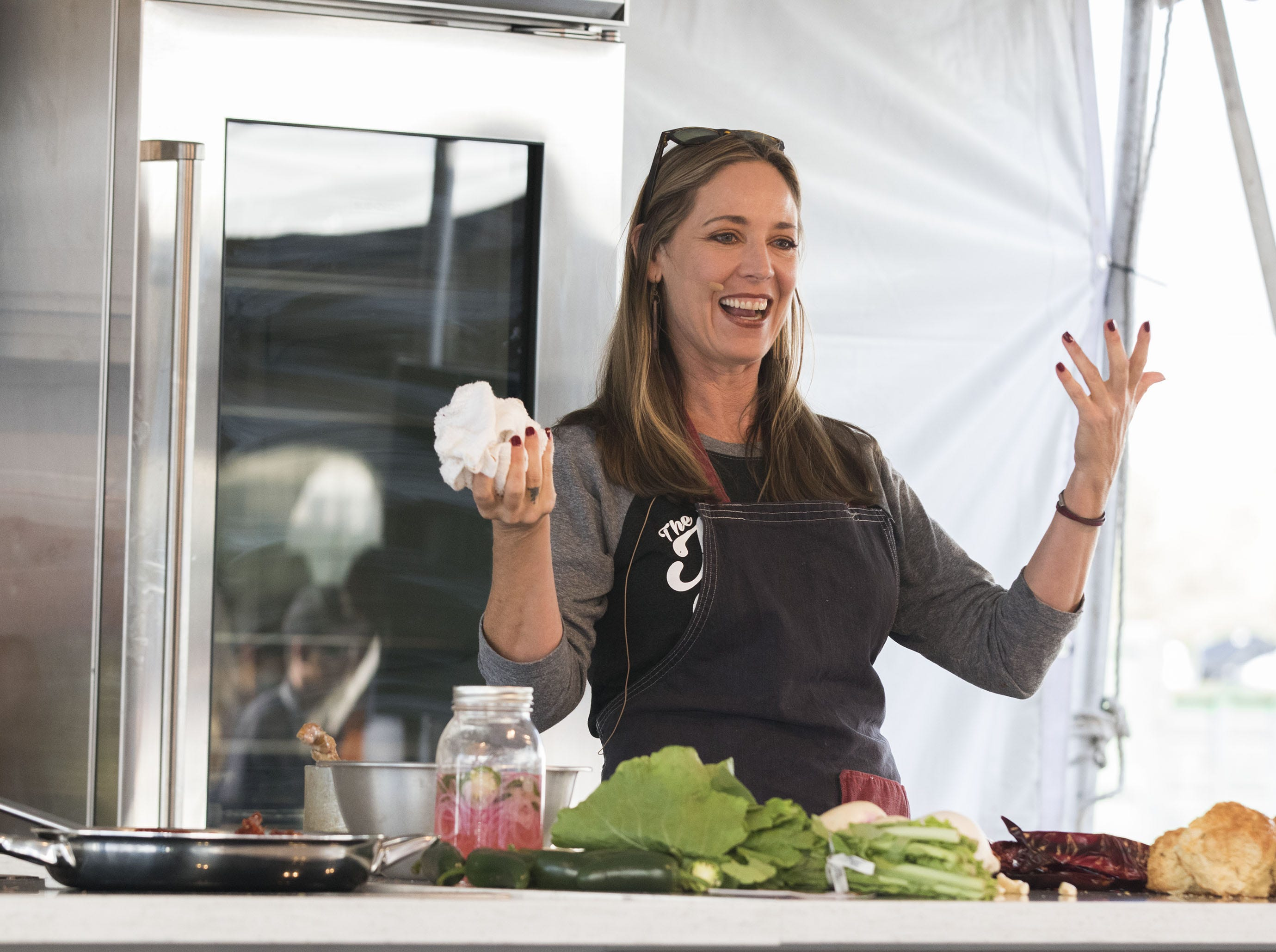 Jennifer Caraway of Joy Bus has fun with fans as she demonstrates her cooking style during the azcentral Wine & Food Experience at WestWorld of Scottsdale, Sunday, Nov. 4, 2018.