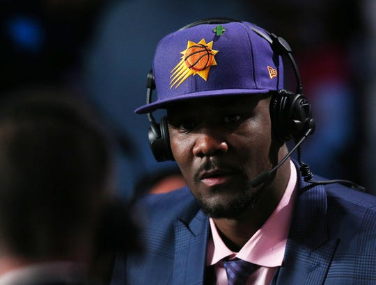 Deandre Ayton of Arizona interviewed after being selected with the No. 1 overall pick by the Phoenix Suns in the 2018 NBA Draft at Barclays Center.