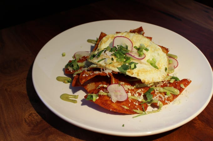 On the breakfast menu, find Mexican dishes including chilaquiles with housemade totopos and chile Colorado.