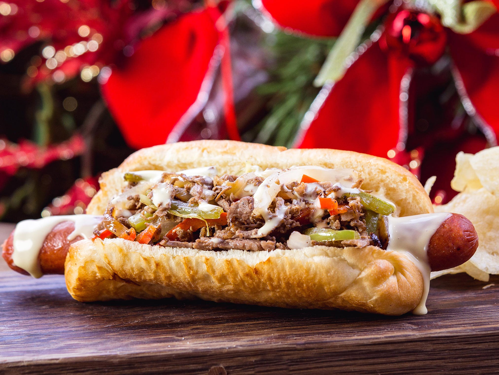 The Philly cheesesteak dog can be found for a limited time at Refreshment Corner on Main Street, U.S.A. at Disneyland park during Holidays at the Disneyland Resort.
