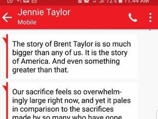 A statement from Jennie Taylor, wife of Brent Taylor.