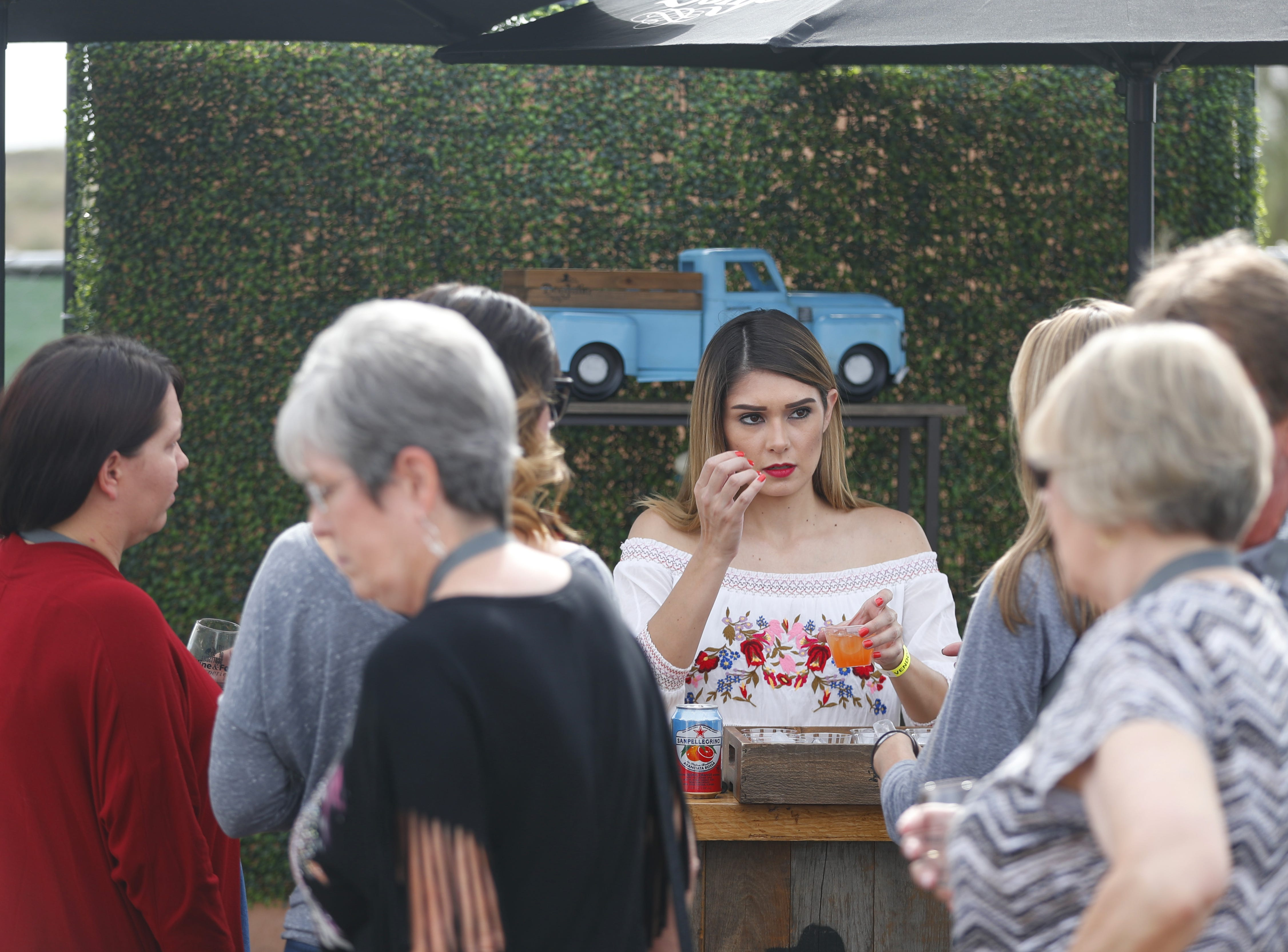 Don Julio tequila draws a line during the azcentral Wine & Food Experience at WestWorld of Scottsdale, Ariz. on Nov. 4, 2018.