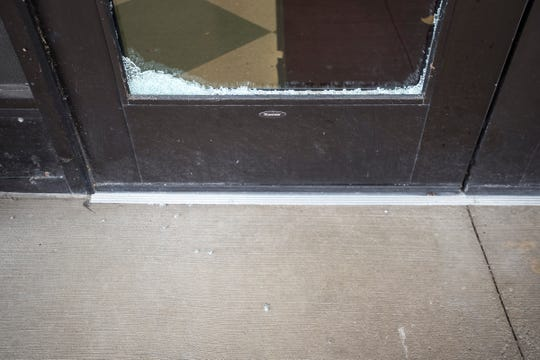 The glass in the front doors of the Kimball Township Offices was broken this morning.