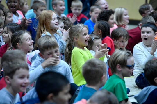Second and third grade students at Loganville-Springfield Elementary School enjoy a puppet show about recycling hosted by York County Solid Waste, Monday, November 5, 2018. John A. Pavoncello photo``