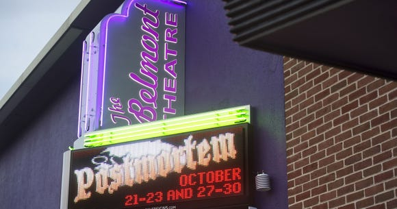 The Belmont Theatre sign now appears on this theater, formerly known as York Little Theatre and Elmwood Theatre. The theater will serve as the venue for the 2018 York History Storytellers evening.