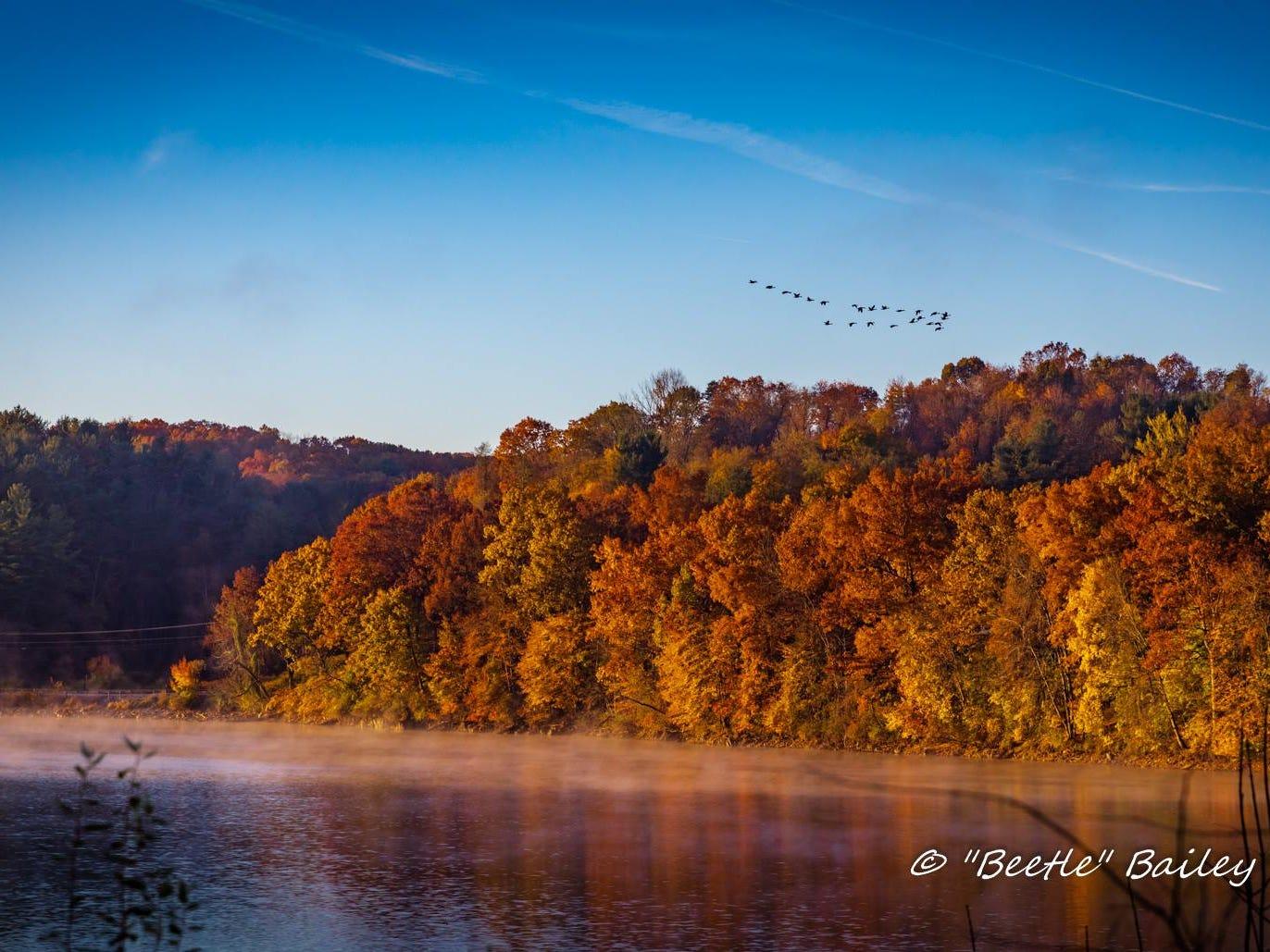 Lake Redman with leaves at peak.