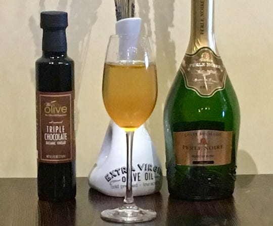 For Fantasies in Chocolate 2018, We Olive & Wine Bar is pouring Louis Bouillot sparkling wine graced with triple chocolate balsamic vinegar.