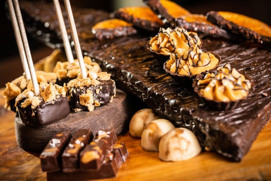 An assortment of s'mores, chocolate caramel cups, chocolate bark and more from Grand Sierra's spread for Fantasies in Chocolate 2018.