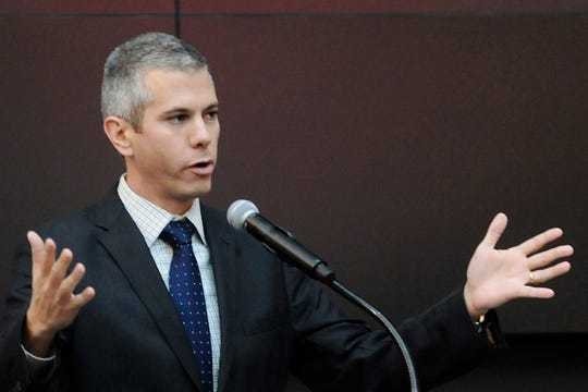 FILE - In this Nov. 19, 2014, file photo, New York State Assemblyman Anthony Brindisi speaks during a news conference in Verona, N.Y. Democrat Brindisi aims to oust Republican U.S. Rep. Claudia Tenney, an outspoken Trump supporter, in a closely watched contest in upstate New York. Tenney attracted national criticism for saying most mass murderers are Democrats, and her campaign has tried to link Brindisi, a state lawmaker from Utica, to organized crime.