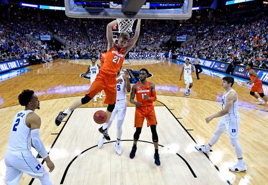 Syracuse forward Marek Dolezaj dunks the  ball against Duke guard Gary Trent Jr. during the second half in the semifinals of the Midwest regional of the 2018 NCAA Tournament. Dolezaj's offense helped spark Syracuse's run to the Sweet 16 last season.