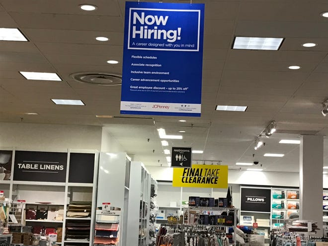 Sign at Mount Shasta Mall JCPenney. The retailer is hiring 50 seasonal associates through the end of the year.