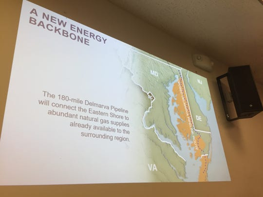 A Delmarva Pipeline Company official updated the Accomack County Board of Supervisors on plans for a natural gas pipeline on Wednesday, Oct. 17, 2018 in Accomac, Virginia.